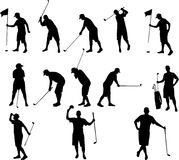 Golf silhouettes. Vector drawing of men playing golf stock illustration