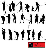 Golf silhouettes collection Stock Images