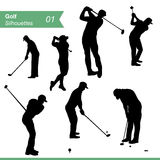 Golf Silhouettes Vector Set. Sport silhouettes. Collection of men silhouettes playing golf EPS 8 vector set. Illustration on white background Stock Photography