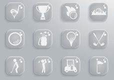 Golf simply icons Royalty Free Stock Photos