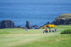 Golf site with wonderful sea background and cliffs Royalty Free Stock Photography