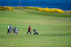 Golf site with wonderful sea background and cliffs Stock Photography