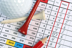 Golf socrecard with birdie. Golf scorecard with  a circled birdie and golfball, pencil and tees Stock Images
