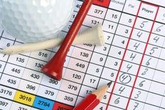 Golf socrecard met vogeltje Stock Afbeeldingen
