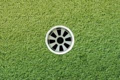 Golf spela golfboll i hål Fotografering för Bildbyråer