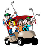 Golf spielende Familie lizenzfreie abbildung