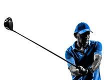 Golf spielendes Porträtschattenbild des Manngolfspielers Stockfotos