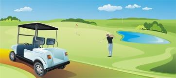 Golf-Spieler, der die Kugel erhitzt lizenzfreie abbildung