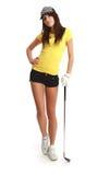 Golf-Spieler-Frau. stockfotografie