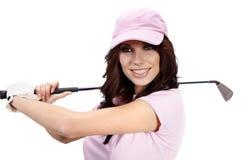 Golf-Spieler-Frau. lizenzfreie stockbilder