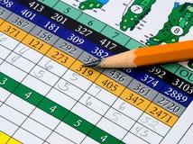 Golf-Spielstandskarte Stockfoto