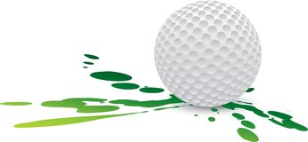 Golf splat. Golf ball sitting on splattered ground Stock Image