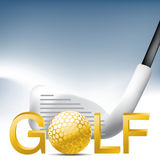 Golf Sport. Concept illustration, Golden golf ball Royalty Free Stock Images