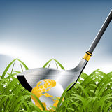 Golf Sport. Concept illustration and golden globe ball royalty free illustration