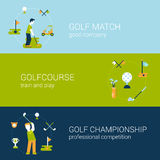 Golf sport club course flat web banners template set. Golf sport club, course concept flat icons  template set. Golf man with club stroke ball, play Royalty Free Stock Photography