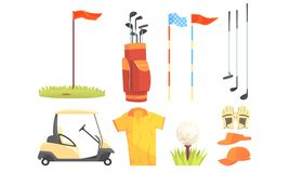Golf Sport Equipment, Clothes And Game Attributes Vector Illustration Set Isolated On White Background