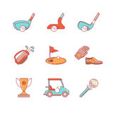 Golf sport and equipment thin line icons set Stock Photo