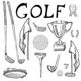 Golf Sport Hand drawn sketch set vector illustration with golf clubs, ball, tee, hole with flag, and prize cup, Drawing doodles el Royalty Free Stock Photography