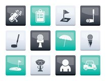Golf and sport icons over color background. Vector icon set stock illustration