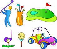 Golf sport icons. Playing golf man and items collection illustration Stock Photo