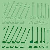 Golf sport items linear and silhouette set royalty free illustration