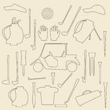 Golf sport items linear and silhouette set Royalty Free Stock Photography