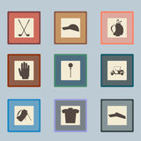 Golf sport items silhouette icon set.  Driver Stock Photo