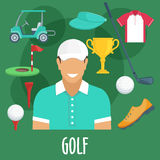 Golf sport profession, equipment and outfit Stock Images