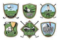Golf sport retro badge with club, ball and golfer. Golf sport club retro badges set. Golfer player on green golf course vintage icon with club, ball and hole vector illustration