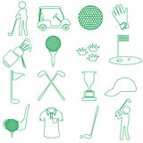 Golf sport simple green outline icons set Royalty Free Stock Images