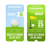 Golf Sport Ticket Set. Vector stock illustration