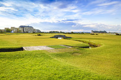 Golf St Andrews old course links. Bridge hole 18. Scotland. Stock Photos