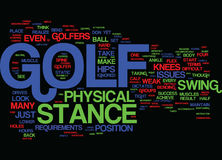 Golf Stance And Its Physical Requirements Word Cloud Concept. Golf Stance And Its Physical Requirements Text Background Word Cloud Concept Royalty Free Stock Photo