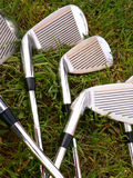 Golf stick. In the grass royalty free stock image