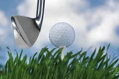 Golf stick and ball Stock Photos