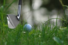 Golf stick and ball Stock Photos