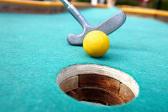 Golf stick and ball. Royalty Free Stock Photos