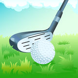 Golf stick and ball. Illustration of golf stick and the ball Royalty Free Stock Photo