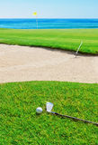 Golf stick on the grass field . Royalty Free Stock Photos