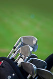 Golf sticks. Vertical picture of golf stick in a bag Stock Photo