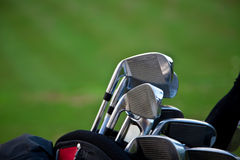 Golf sticks. Horisontal picture of golf stick in a bag Royalty Free Stock Images