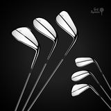 Golf sticks on the dark background as vector design elements Stock Photo