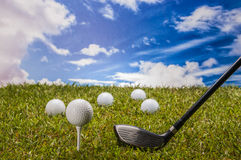 Golf stuff on green grass Royalty Free Stock Image
