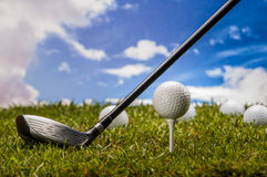 Golf stuff on sunny golf field Royalty Free Stock Photography