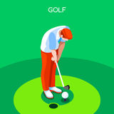 Golf Summer Games Icon Set.3D Isometric Golfer Athlete.Sporting Championship International Golf Competition Stock Photography
