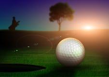 Golf sunrise. Photoshop draw sunrise on golf course stock illustration