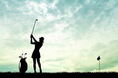 Golf at sunset. Illustration of girl play golf at sunset vector illustration
