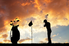 Golf at sunset Royalty Free Stock Image