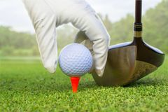 golf sur le té photo stock