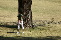 Golf Swing. Lady golf swing sequence series (1 of 4 Royalty Free Stock Photos